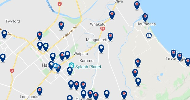 Accommodation in Hastings - Click on the map to see all available accommodation in this area