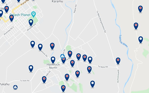 Accommodation in Havelock North - Click on the map to see all available accommodation in this area