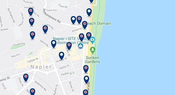 Alojamiento en el centro de Napier - Clica sobre el mapa para ver todo el alojamiento en esta zona