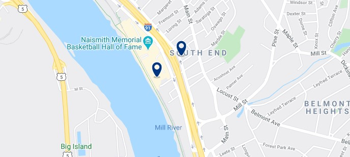 Accommodation in Springfield, MA South End - Click on the map to see all the available accommodation