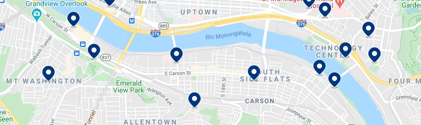 Accommodation in Pittsburgh's South Side - Click to see all the available accommodation on a map