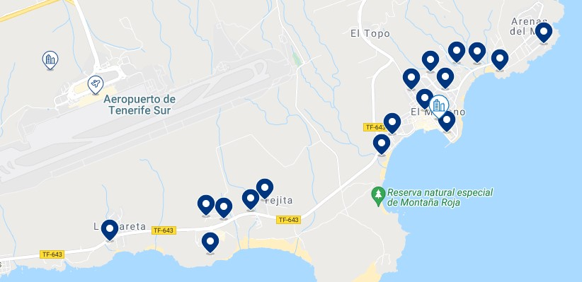 Accommodation in El Médano – Click on the map to see all the available accommodation in this area