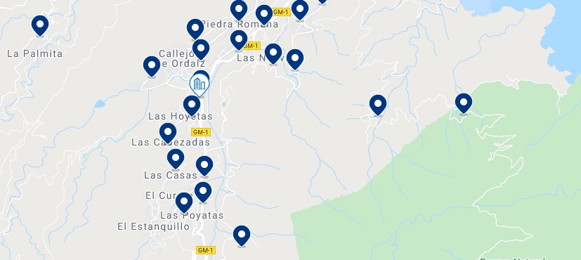 Accommodation in Hermigua - Click on the map to see all the available accommodation in this area
