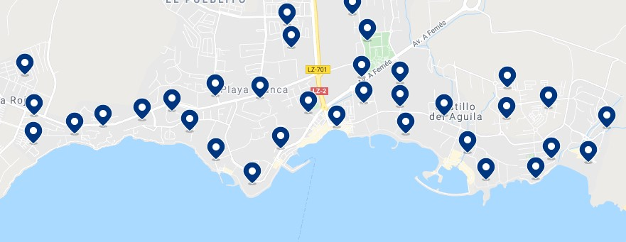 Accommodation in Playa Blanca - Click on the map to see all the available accommodation in this area
