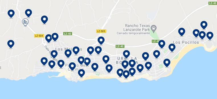 Accommodation in Puerto del Carmen - Click on the map to see all the available accommodation in this area