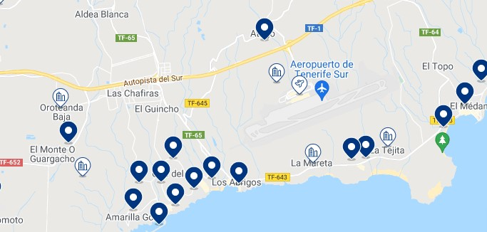 Accommodation in San Miguel de Abona – Click on the map to see all the available accommodation in this area