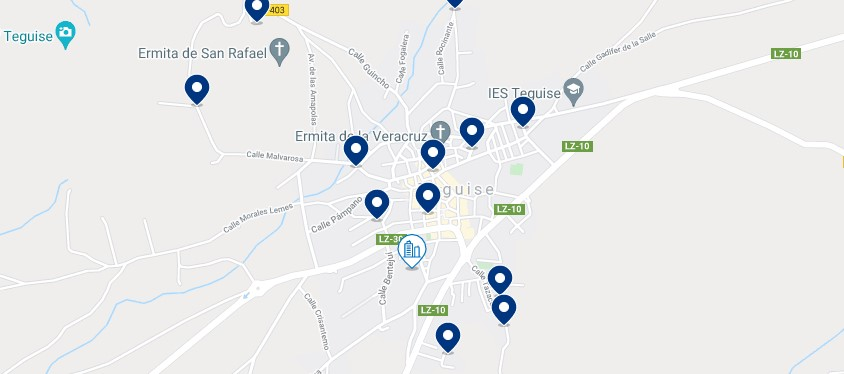 Accommodation in Teguise - Click on the map to see all the available accommodation in this area
