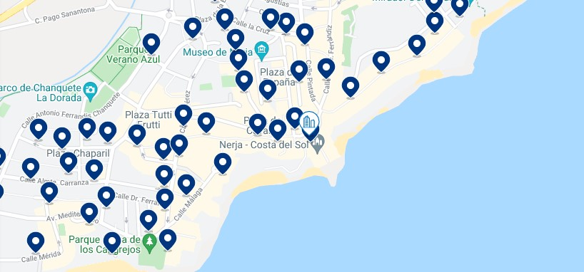 Accommodation in Nerja - Click on the map to see all the available accommodation in this area