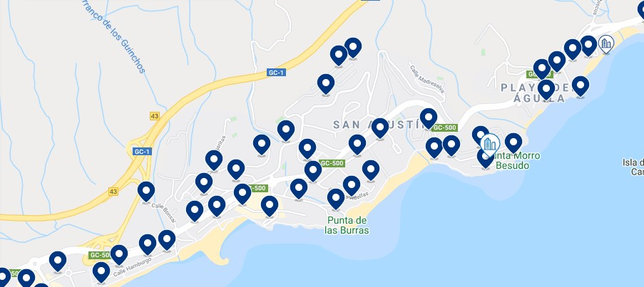 Accommodation in San Agustín – Click on the map to see all the available accommodation in this area