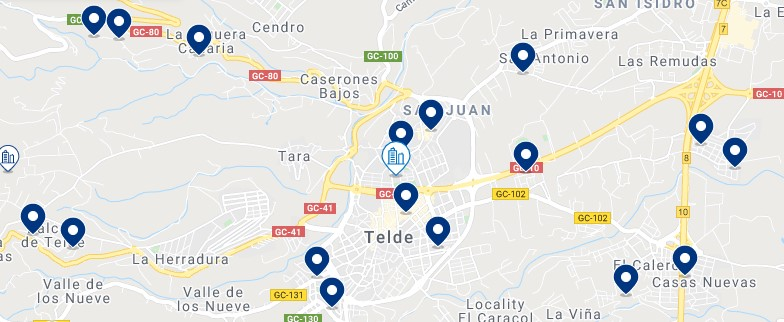 Accommodation in Telde – Click on the map to see all the available accommodation in this area
