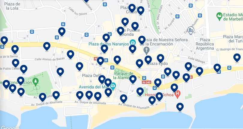 Accommodation in Marbella – Click on the map to see all the available accommodation in this area