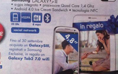 Un Galaxy Tab 2 in regalo per ogni Galaxy S3 acquistato