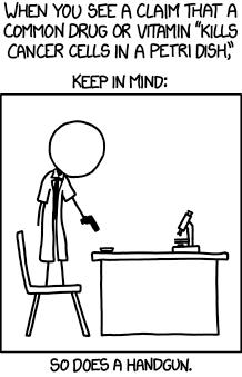 """Man sieht eine Strichzeichnung eines Männes im Laborkittel, der auf einem Stuhl steht und eine Waffe auf die Petrischale richtet, die vor ihm auf einem Tisch liegt. Der Text über dem Bild lautet: When you see a claim that a common drug or vitamin """"kills cancer cells in a petri dish"""", keep in mind: So does a handgun"""