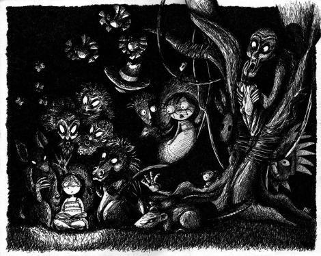 Personnages réunis dans la forêt