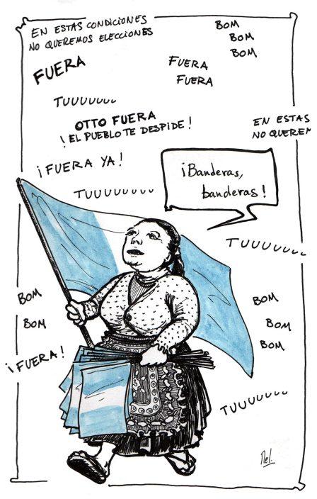 Guatemala 2015 - Vendeuse de drapeaux pendant la manifestation