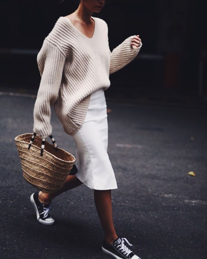 Location_ CBD Sydney KWAN LABEL | skirt ACNE STUDIOS | deep v-neck knit KAYU | st tropez straw bag BALZAC PARIS | suede sneakers (sold out, but similar HERE) CONVERSE A. xx