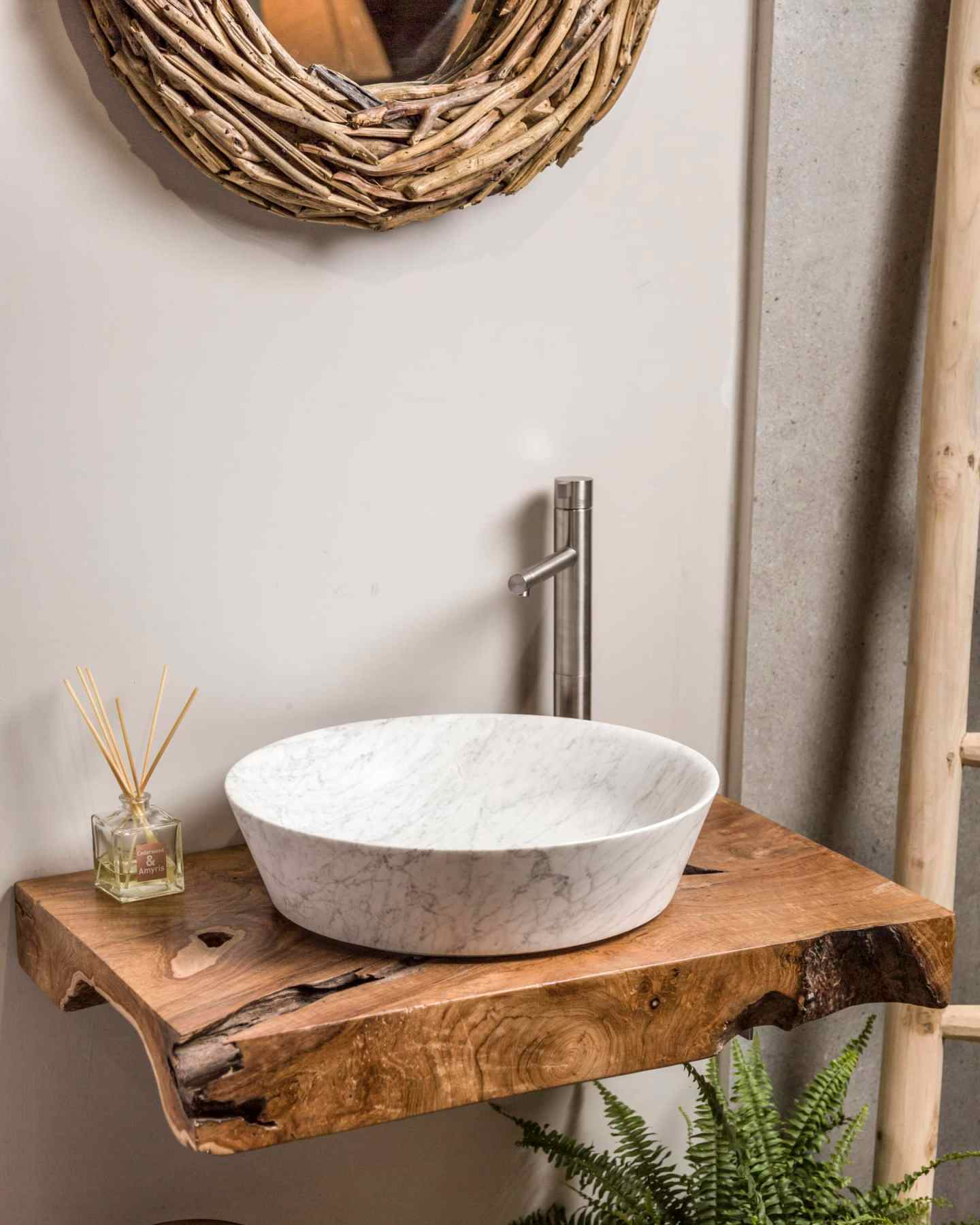 Teak root floating vanity shelf - Indigenous