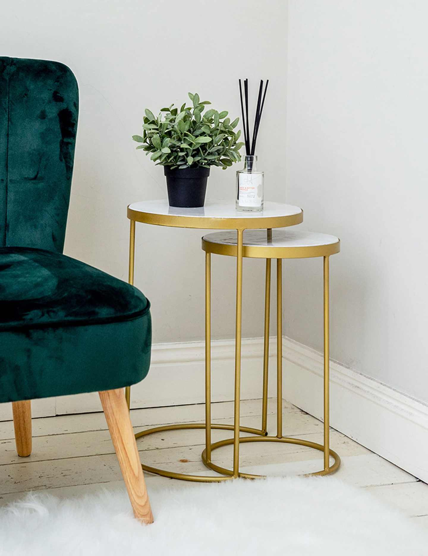 gold and marble looks fabulous with green - nest of tables from sue ryder