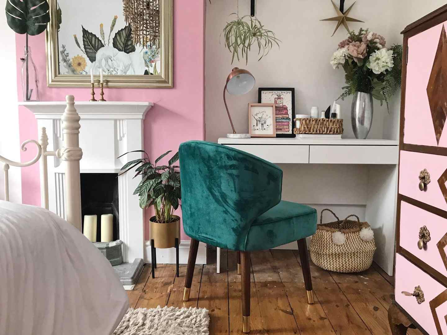 I love how the pink and green sit well together in this room -  Forest Green chair , Cult Furniture.  Dressing Table , John Lewis
