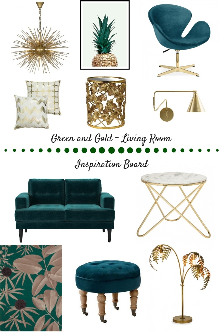 Green, gold, homewares, mood board, inspiration, living room