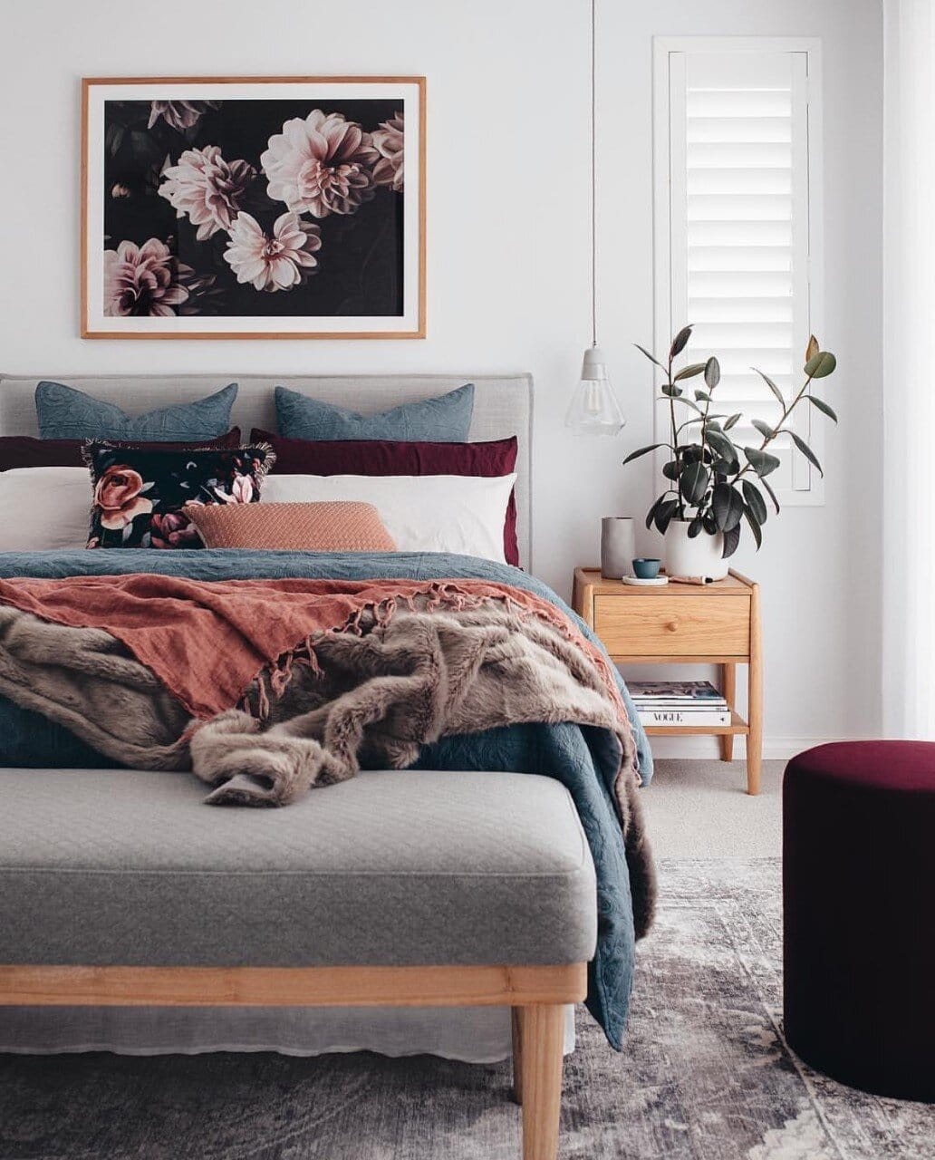 interior, interiors, interior design, interior design trends, trends, 2020, 2020 trends, rattan, faces, jewel tones, ribbed furniture, design, colours, colors, colour trends, bedroom