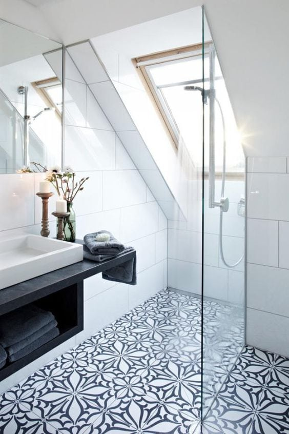 Beautiful patterned tiles and slate effect sink in this wet room -  www.foamandbubbles.com