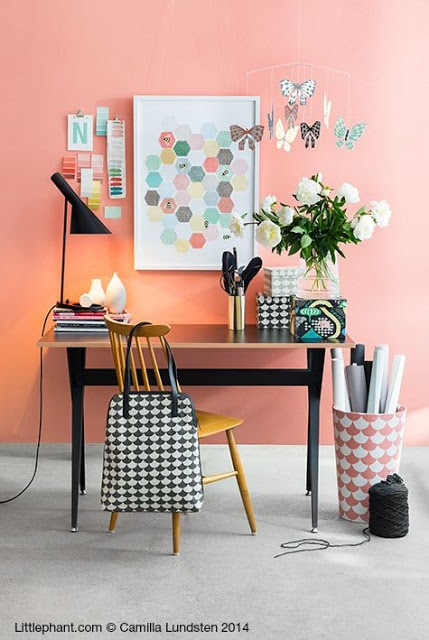 A coral inspired small office space by  www.littlephant.com