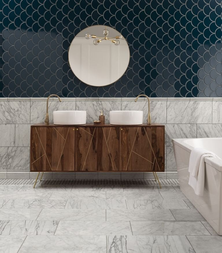 I love the contrast of the Syren tile against the marble. Credit: Topps Tiles