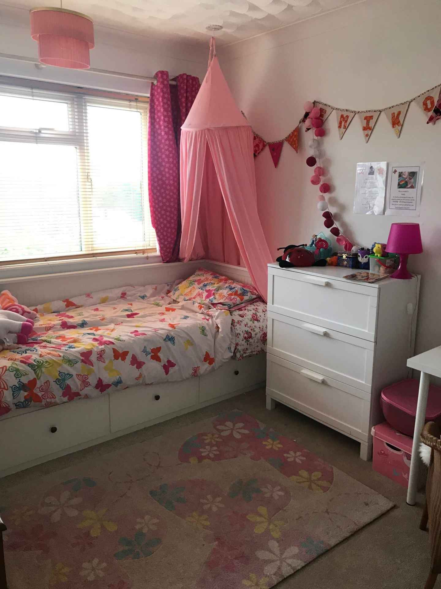 My daughter's bedroom before the revamp - complete with Ikea Day Bed and mattress