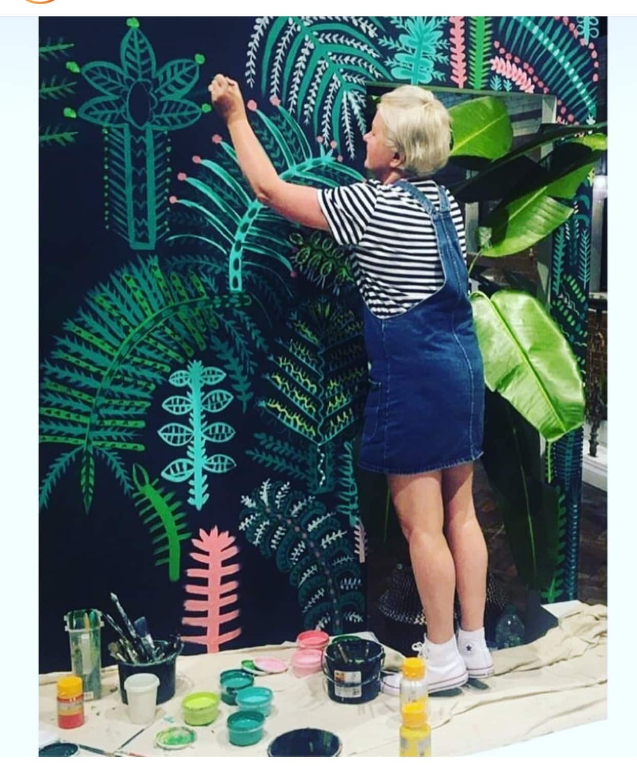The fabulously talented  Lucy Tiffney  creating one of her easily recognisable murals