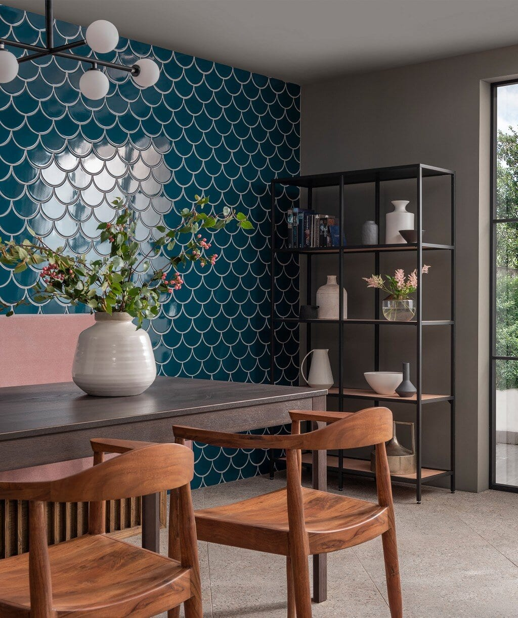 Mid-century and Industrial furniture adding an eclectic feel to this dining room. Credit: Topps Tiles