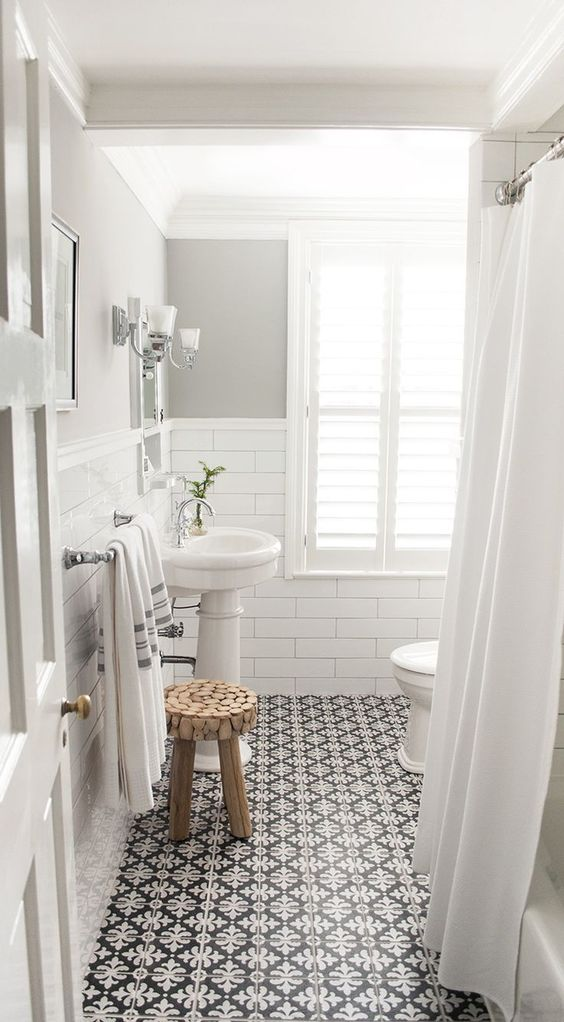 Monochrome tiles with white bathroom suite -  www.debbiebasnett.com