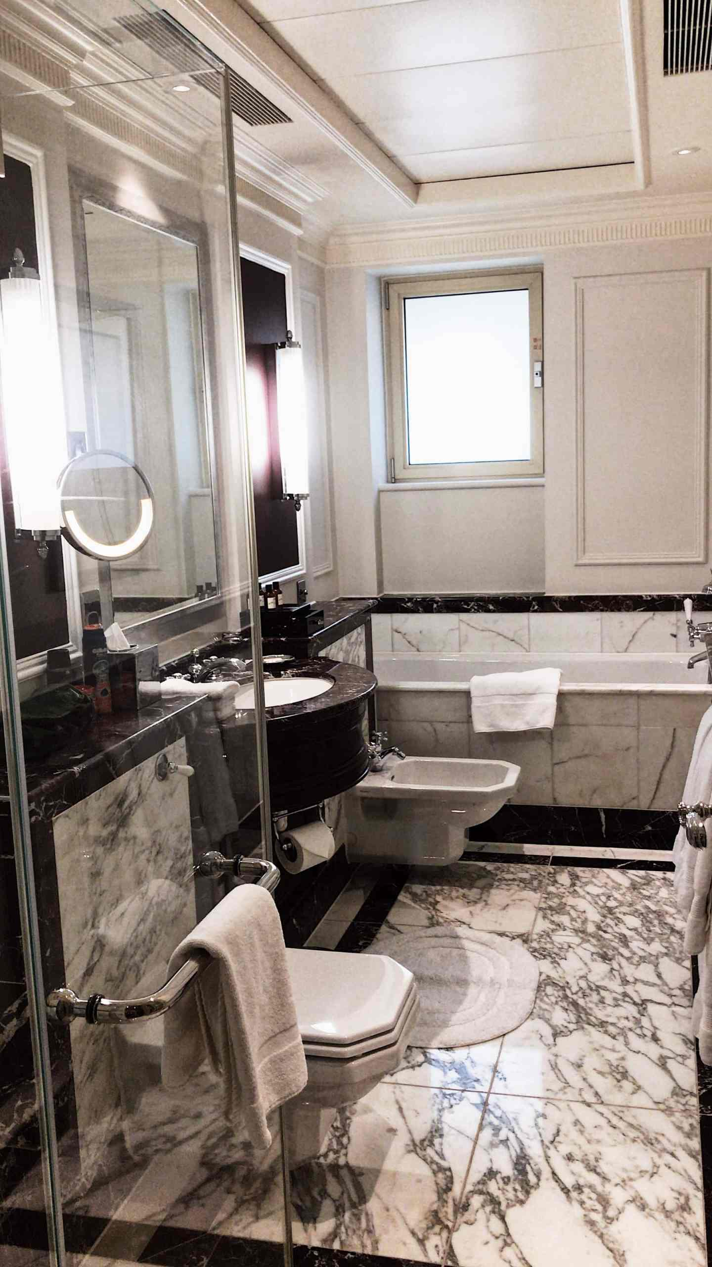 The luxurious marble bathroom