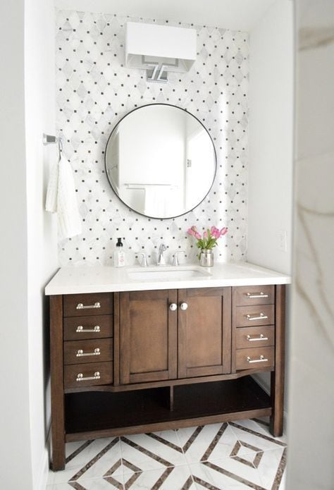 Dark wood sink unit with patterned tiles pulling the colour scheme together -  Centsational Style