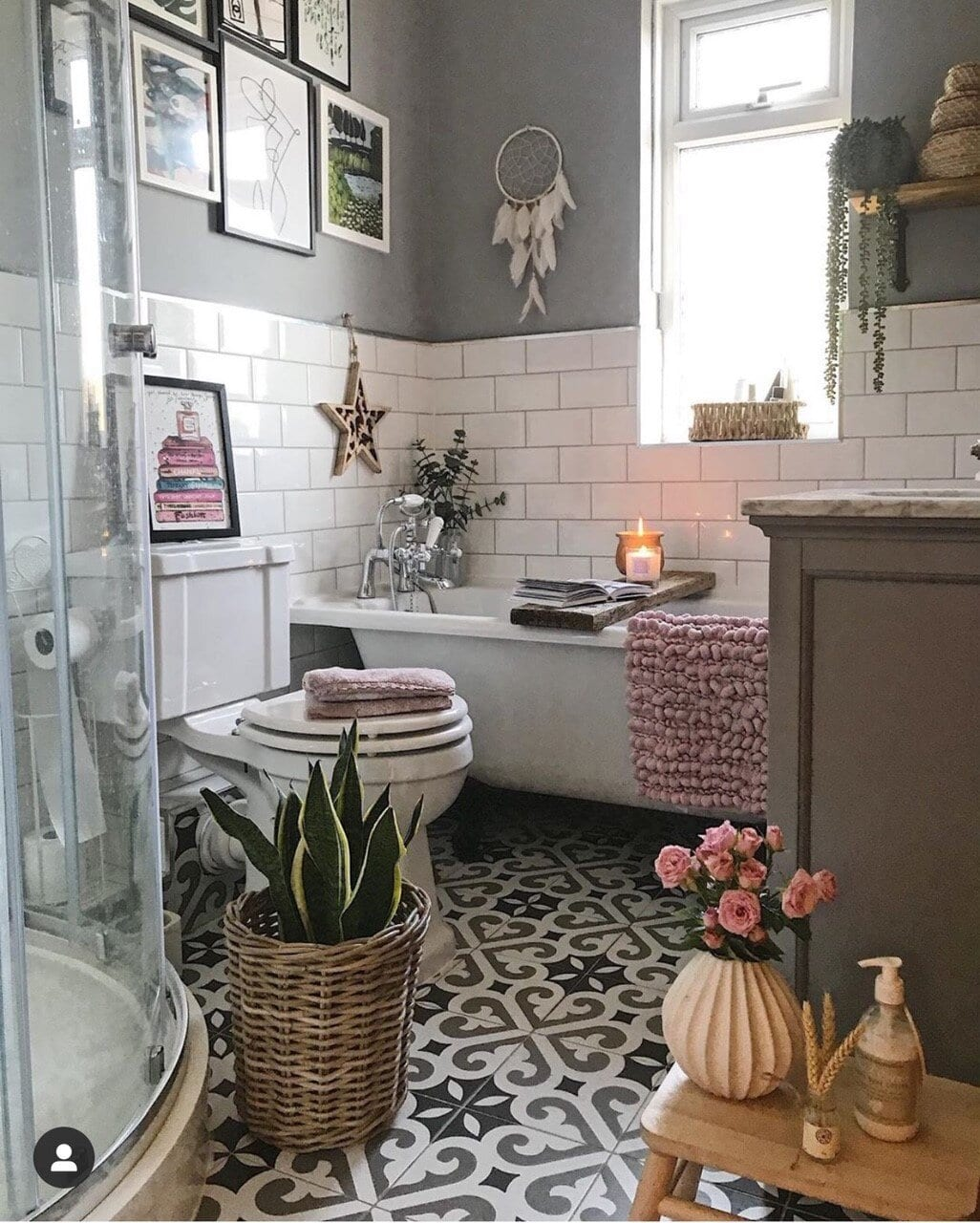 One of the questions I get asked the most is the dimensions of my bathroom. So I created a dedicated Instagram and blog post around our bathroom renovation .