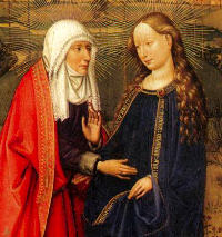 """Visitation"", from Altarpiece of the Virgin (St Vaast Altarpiece) by Jacques Daret, c. 1435"