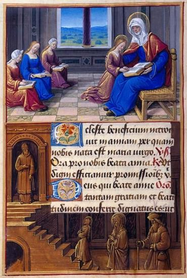 St. Anne: Anne Instructing the Virgin Border: Presentation of the Virgin in the Temple | Fol. 186v | The Morgan Library & Museum