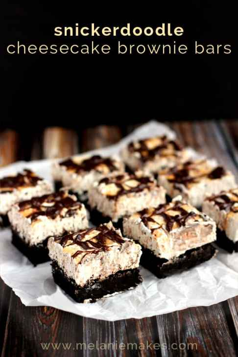 Snickerdoodle Cheesecake Brownie Bars | Melanie Makes melaniemakes.com