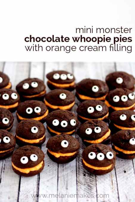 Mini Monster Chocolate Whoopie Pies with Orange Cream Filling | Melanie Makes