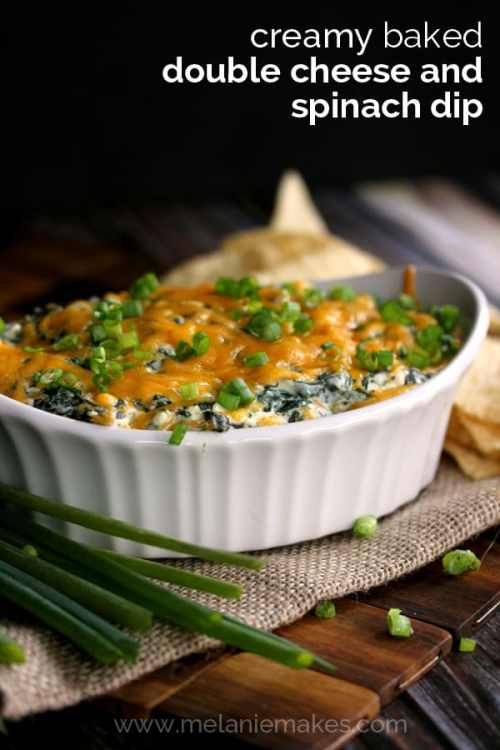 Creamy Baked Double Cheese and Spinach Dip   Melanie Makes