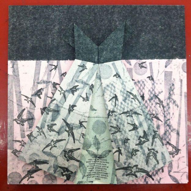 Melanie's origami paper dress exchange
