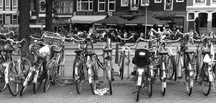 Bikes parked everywhere..