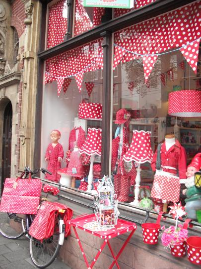 If your shopping for red and white polka dots...