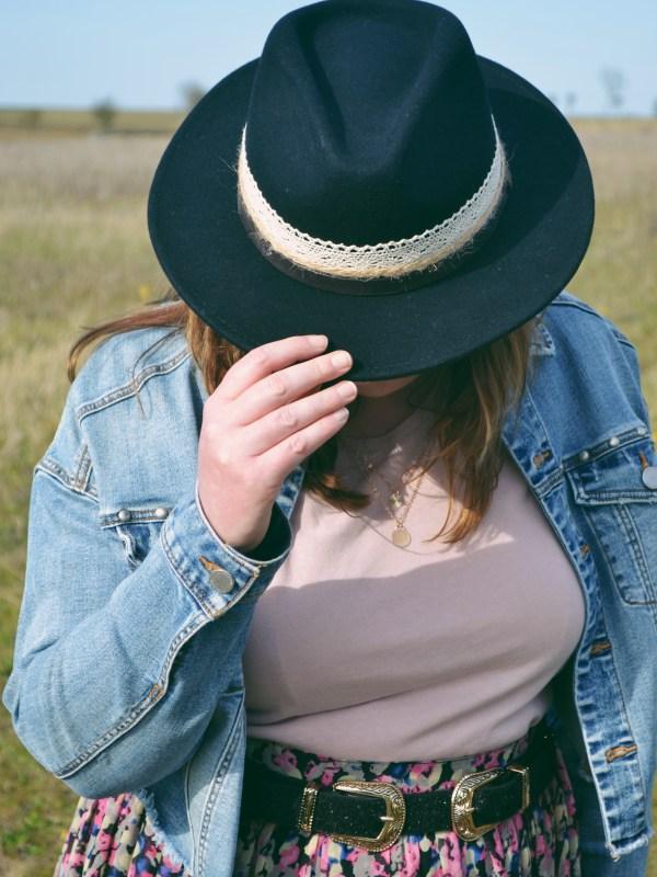 Black fedora hat in summer fields