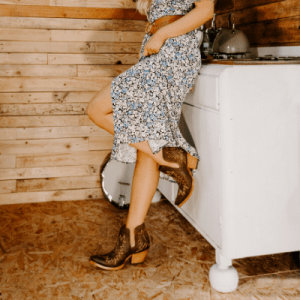 Floral summer maxi dress with cowboy boots