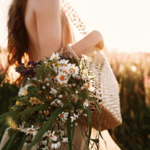 Boho flowers and sunset