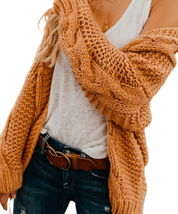 Solid Cable-knit Casual Cardigan western style, boho cardigan