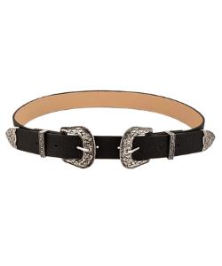 Black western belt double buckle boho
