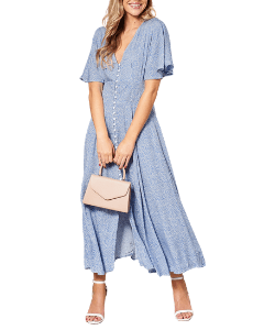 Megan Blue Floral Button Front Maxi Dress With Shirred Back