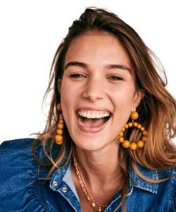 Sezane brown mustard hoop beaded earrings